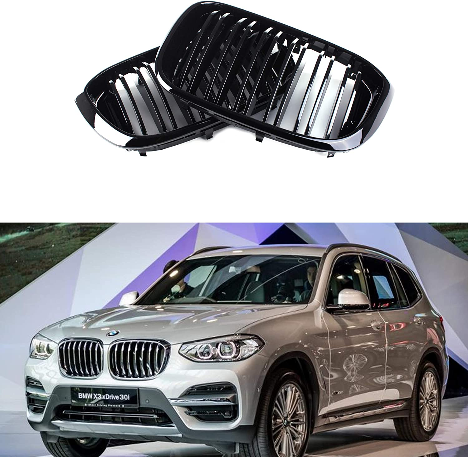 Shiny shop 5 popular Black Dual Line Front Grille Grill 20 BMW For G01 G02 X3X4