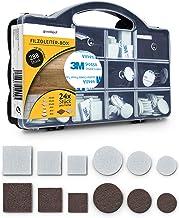 goodspot® Viltglijders zelfklevend met 3M lijm - 288 stuks in praktische doos - rond, hoekig, donkerbruin, wit - meubelgli...