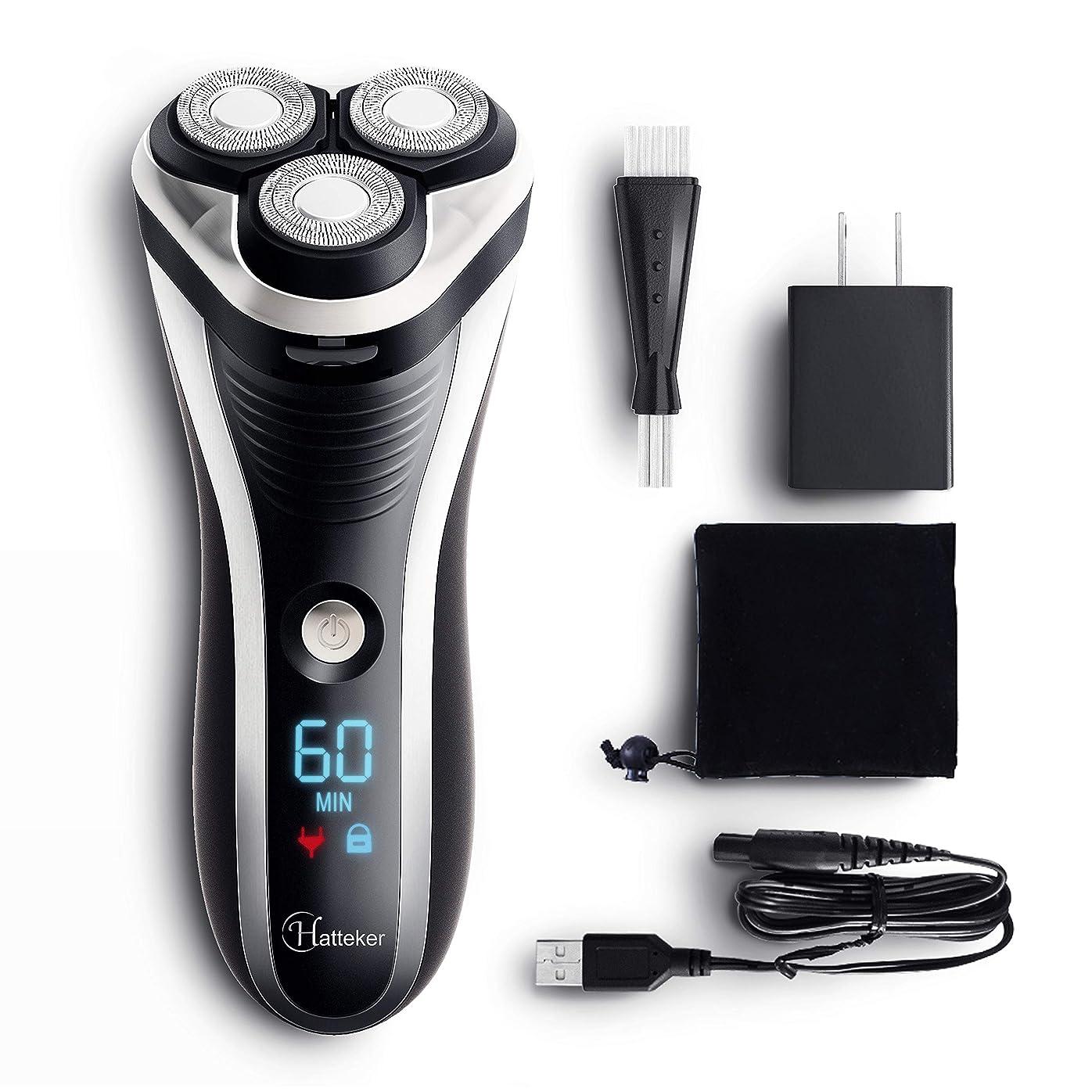 飲み込む先例ヘクタールHATTEKER 電気シェーバー 髭剃り メンズ シェイバー ひげそり 回転式 もみあげ 水洗いOK ウエット·ドライ剃り USB充電式· 交流式 LEDディスプレイ(一年間保証)