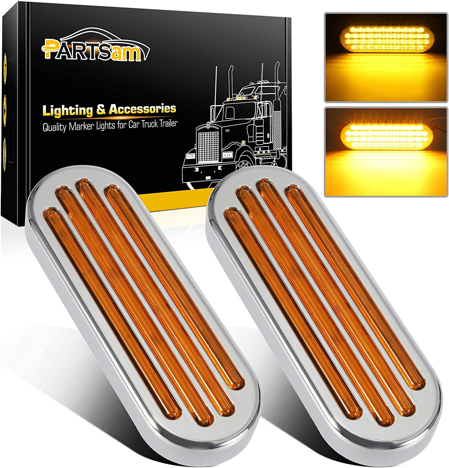 Partsam 2Pcs 6.5 Manufacturer direct delivery Inch Chrome Flat Line an Turn Amber Signal Max 70% OFF Oval