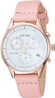 Women's Eco-Drive Stainless Steel Japanese-Quartz Leather Calfskin Strap, Pink, 15 Casual Watch (Model: FB1443-08A)
