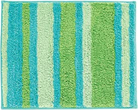 iDesign Stripz Microfiber Polyester Non-Slip Bath and Shower Mat/Accent Rug for Bathrooms, Vanities, Kitchen - Blue/Green Striped