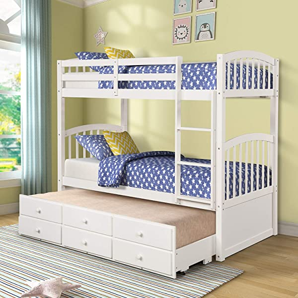 Twin Over Twin Bunk Bed Convertible With Trundle For Kids WeYoung Wooden Bunk Bed Frame With 3 Storage Drawers For Bedroom Guest Room White