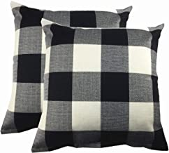 HYXING Black and White Throw Pillow Covers 18X18 Decorative Plaids Farmhouse Decor Buffalo Checkers Cotton Linen Cases Cushion Pillows Case Standard Home for Sofa (Plaids Black&White, Pack of 2)