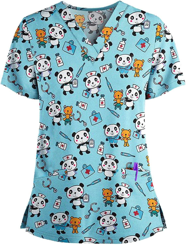 Women Short Sleeve V-Neck Tops Cartoon Print Scrub_Top Work Uniform Nurses_Tunic Workwear Tops