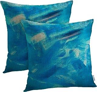أغطية وسائد مزخرفة بألوان أسود وأزرق ساطع 18 × 18 بوصة مجموعة من 2، أزرق أسود تجريدي زيتي نمط أخضر اللون ديكور غرفة أريكة ...