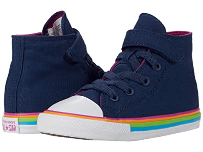 Converse Kids Chuck Taylor(r) All Star(r) 1V Hi (Infant/Toddler) (Navy/Cactus Flower/White) Girl