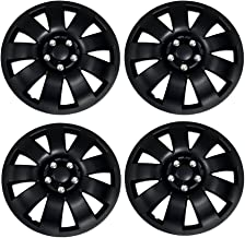 TuningPros WSC3-721B15 4pcs Set Snap-On Type (Pop-On) 15-Inches Matte Black Hubcaps Wheel Cover