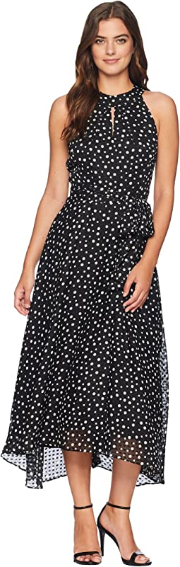 Flocked Dot Midi Chiffon Dress