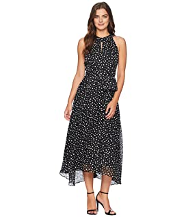 Flocked Dot Midi Chiffon Dress