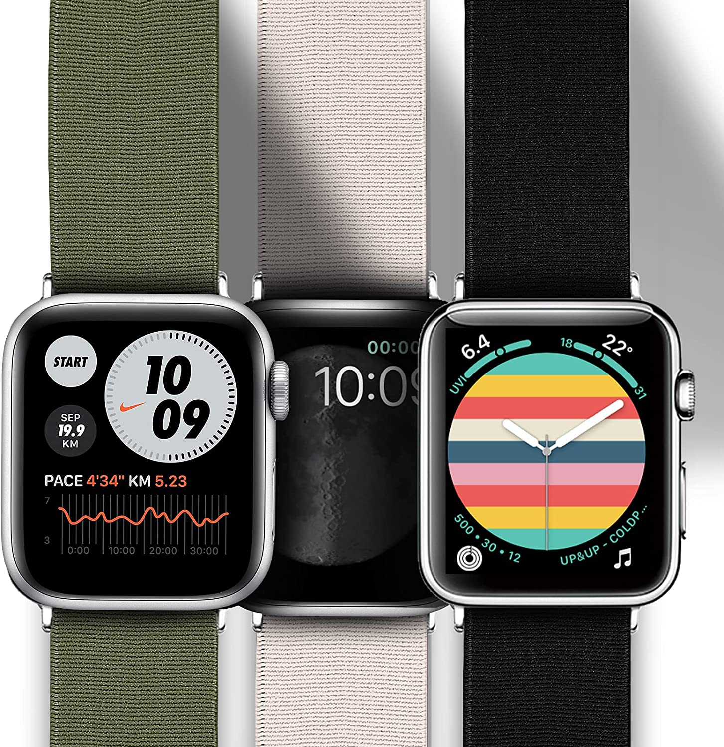 Joyozy Stretchy Loop Bands Compatible with Apple Watch Band 40mm 38mm 42mm 44mm, Elastic Adjustable Wristband for iWatch Series 6/5/4/3/2/1