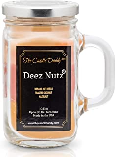 The Candle Daddy Deez Nutz Scented Candle - Banana Nut Bread, Toasted Coconut, Hazelnut Scented Triple Layer Candle - 10.5 oz Mason Jar Candle - Funny Gag Joke Candle Poured in Small Batches in USA