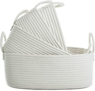 Storage Baskets Set of 4 - Woven Basket Cotton Rope Bin, Small White Basket Organizer for Baby Nursery Laundry Kid's Toy