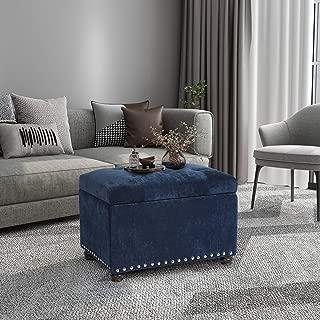 Homebeez Tufted Storage Ottoman Bench Velvet Footrest Stool with Lift Top & Nailhead Trim (Navy Blue)