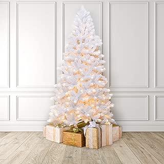 Martha Stewart Flocked White Pine Pre-Lit Artificial Christmas Tree, 6.5 Feet, Clear Lights