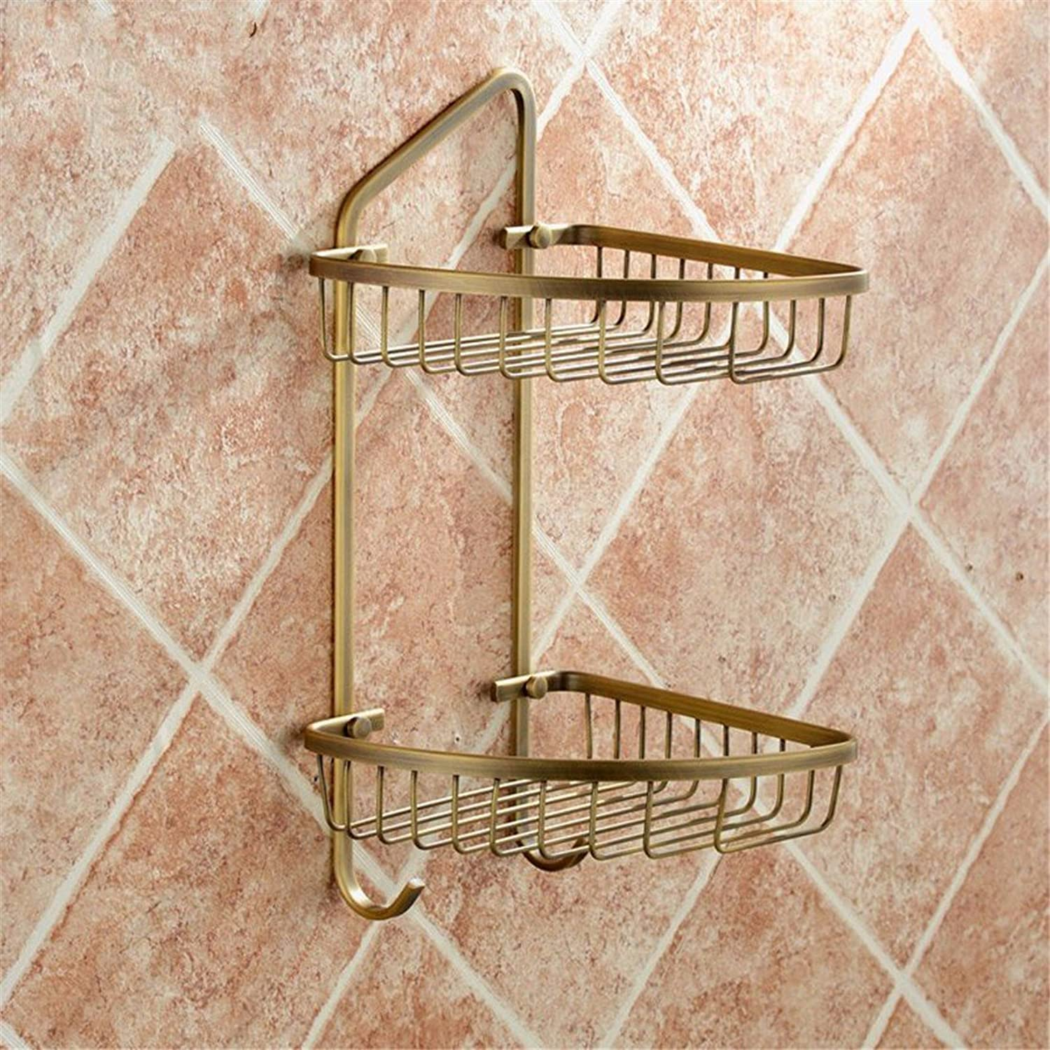 Continental copper antique carved bathroom accessories pack of toilet paper holder Toilet brush holder, the built-in basket 2 B