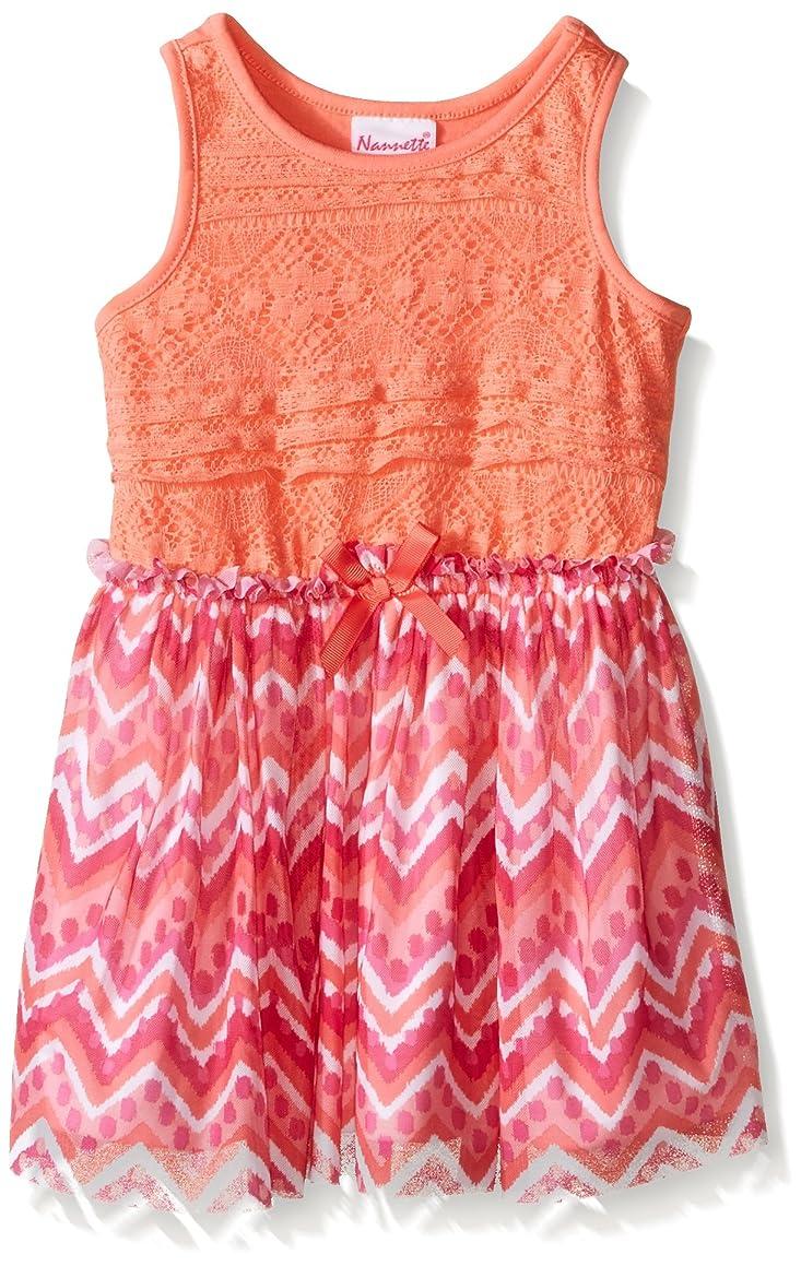 Nannette Girls' Dress Lace Bodice with Striped Chiffon Skirt
