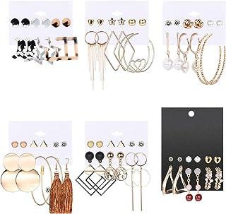 Udalyn Juego de 36 pares de pendientes de moda para mujer, bohemio, pendientes de borla colgantes, aretes de aro de perlas...