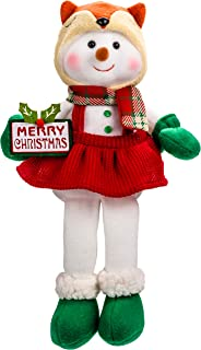 Snowman Plush Doll for Christmas Home Decor Girl Snowman Stuffed Animals for Kids with Cute Fox Hat Long Nose Decorations
