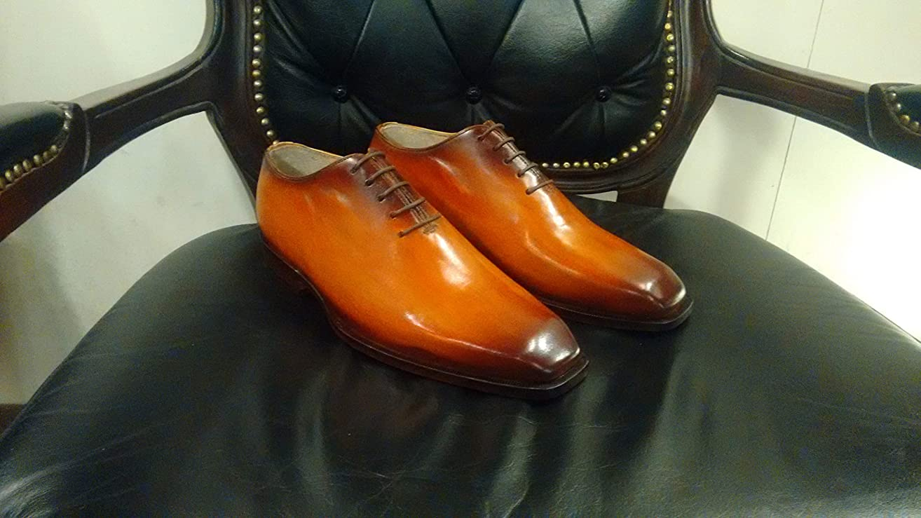 Handmade Cognac Patina Whole Cut Oxfords For Men Custom Made Shoes for Men