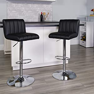 Flash Furniture Contemporary Black Vinyl Adjustable Height Barstool with Vertical Stitch Back/Seat and Chrome Base