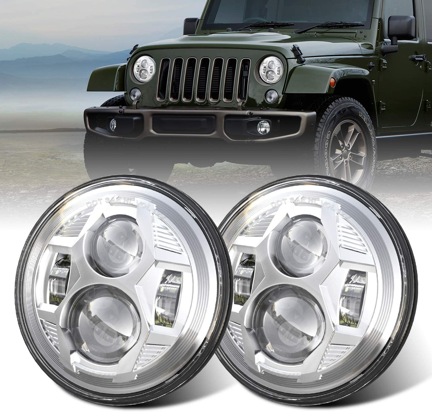 DOT 1 year warranty 7 Inch Round LED Headlights with JK Compatible Wrangler Long Beach Mall Jeep