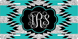 Personalized License Plate Monogram Aztec Hipster Teal Black Glitter License Plate Car Auto Tag Aluminum PLP