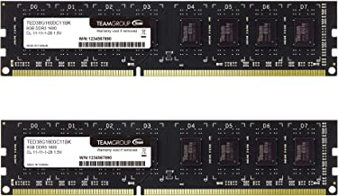 TEAMGROUP Elite DDR3 16GB Kit (2 x 8GB) 1600MHz (PC3-12800) CL11 Unbuffered Non-ECC 1.5V UDIMM 240 Pin PC Computer Desktop Memory Module Ram Upgrade - TED316G1600C11DC-S01-16GB Kit (2 x 8GB)