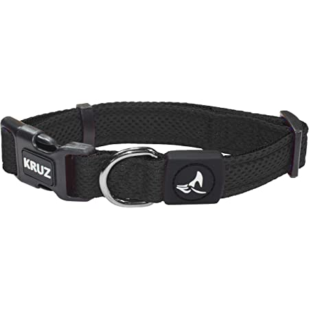 Kruz Dual Layered Mesh Collar for Small, Medium, Large Dogs - KZA102 - Easy Neck Size Adjustable Dog & Puppy Collar - Soft, Lightweight, Breathable, Comfort Fit - Heavy Duty D-Ring for Leash & ID Tag