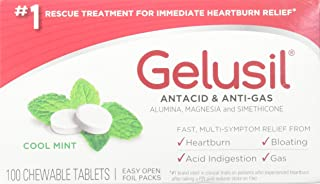 Gelusil Antacid/Anti-Gas Tablets Cool Mint, 100 Tablets