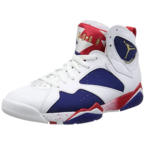 e13d2208d60c Nike Mens Air Jordan 7 Retro Tinker Alternate White Metallic Gold-Deep  Royal Leather