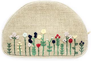Small embroidered makeup bag Flowers embroidery cosmetic bag for women Floral makeup zipper pouch for bridesmaids
