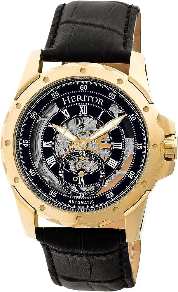 Heritor,orologio automatico per uomo,in acciaio inossidabile 316 l,cinturino in vera pelle premium coccodrillo HERHR3404