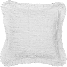 Be-you-tiful Home Laura Ruffled Pillow, 18-Inch x 18-Inch, White