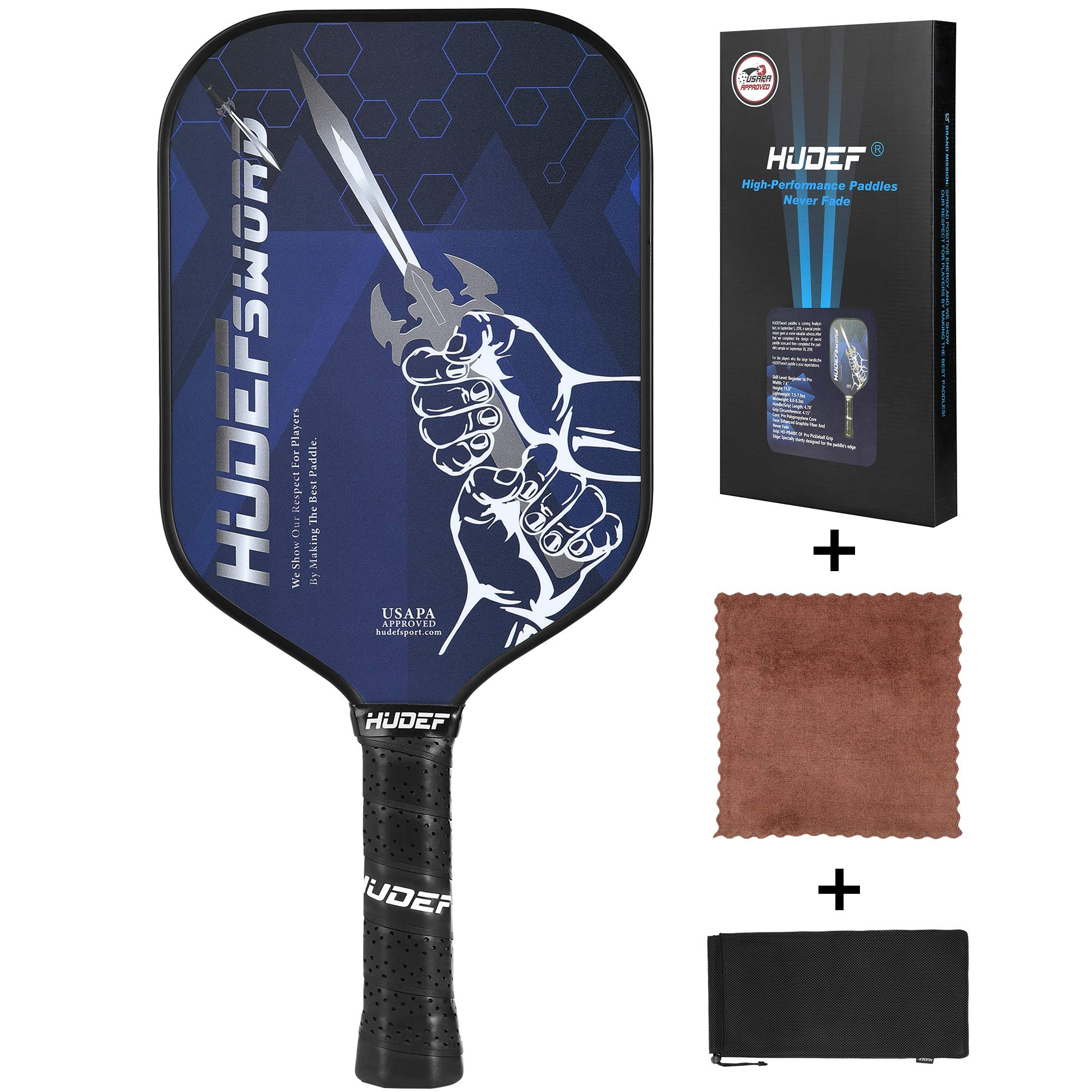 HUDEF Pickleball Paddles Racket Graphite Carbon Fiber  -XHFV