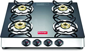 Prestige Marvel Plus Stainless Steel 4 Burner Gas Stove, Black