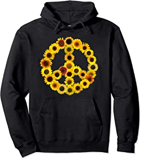 Sunflowers Peace Sign Retro 60s Hippie Bohemian 70s Pullover Hoodie