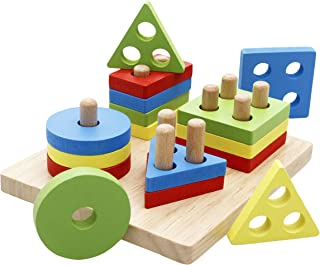 Lewo Wooden Educational Toddler Toys for 3 4 5 Year Old Boys Girls Preschool Shape Color Recognition Sorting & Stacking Sh...