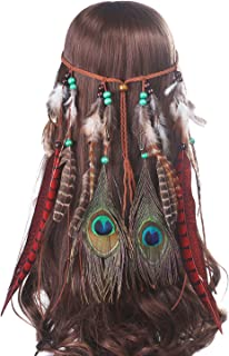 AWAYTR Feather Headband Festival Headwear - Bohomia Feather Rope Crown Headdress For Woman Girls
