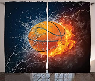 Ambesonne Sports Curtains, Basketball Ball on Fire and Water Flame Splashing Thunder Lightning, Living Room Bedroom Window Drapes 2 Panel Set, 108 X 84 Inches, Dark Blue Orange Burgundy