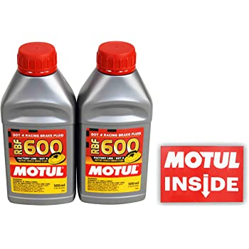 Motul (2 Pack) 100949 RBF 600 DOT 4 100% Synthetic Factory Line Racing Brake Fluid with Premium Motul Sticker (2)