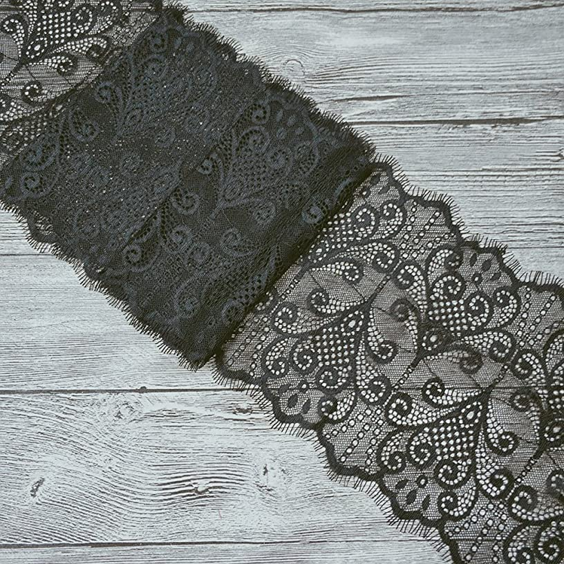 3 Meters Stretch Lace Fabric Black Flower Pattern Fabric Black Elastic Fabric for Tops Lingerie Costumes