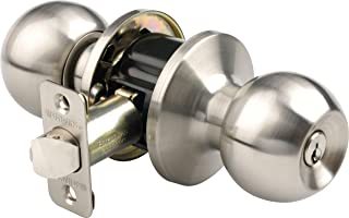 Brinks 2707-119 Ball Style Keyed Entry Door Knob, Satin Nickel