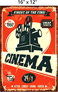 UNiQ Designs CINEMA Media Room Decor Tin Signs Theater Sign - Movie Room Decor Accessories - Film Decor - Cinema Decor - Home Movie Theater Decor - Movie Reel Wall Decor - Vintage Movie Decor 16x12
