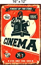 UNiQ Designs CINEMA Media Room Decor Tin Signs Theater Sign - Movie Room Decor Accessories - Film Decor - Cinema Decor - Home Movie Theater Decor - Movie Reel Wall Decor - Vintage Movie Decor 16x12