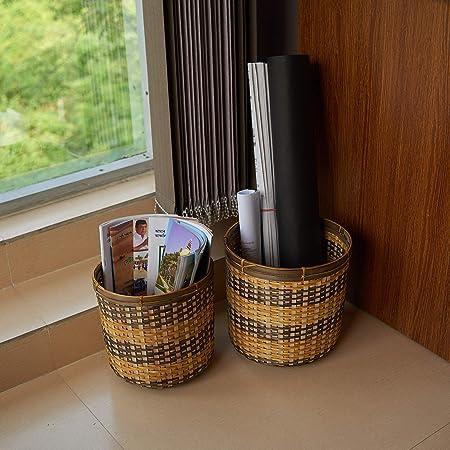 Kraftinn Bamboo Paper Bin -Set of 2- Yellow and Oak Brown