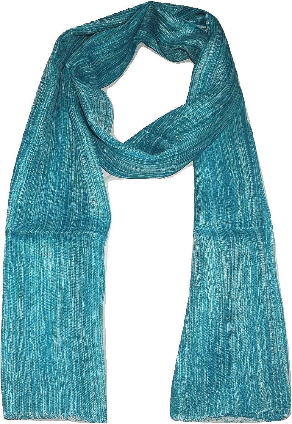 100% Pure Linen Scarf, IKAT Weave in Melange Stripes, Linen Scarf.
