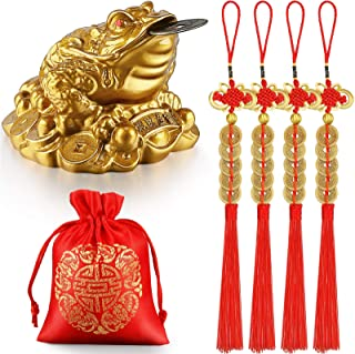 Feng Shui Money Frog Fortune Coin Money Toad Three Legged Toad Statue with Coin, 4 Pieces Chinese Knot Lucky Coins Feng Sh...