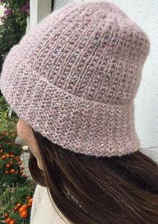 Sombrero de punto rosa pálido, mujeres, sombrero acanalado mujer, gorro acanalado de lana, mohair y lurex, hecho a mano, r...