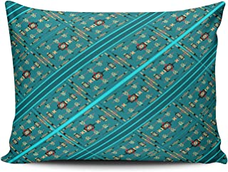 ONGING Decorative Pillowcases Turquoise Teal American Indian Stripe Customizable Cushion Rectangle Standard Size 20x26 Inch Throw Pillow Cover Case Hidden Zipper One Sided Design Printed